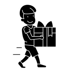 boy carring gift icon sig vector image