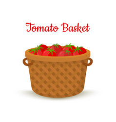 Brown basket with tomatoesbright vegetable vector