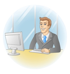 Businessman working in office vector image