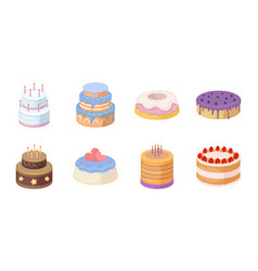 cake and dessert icons in set collection for vector image