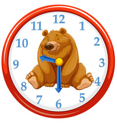 Cartoon bear on clock template vector
