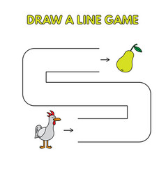 cartoon chicken draw a line game for kids vector image