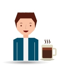 cartoon guy with coffee mug hot design icon vector image
