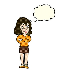 Cartoon woman with crossed arms with thought vector