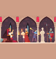 castle interior people banner vector image