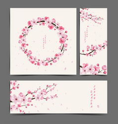 cherry blossom realistic cherry blossom vector image