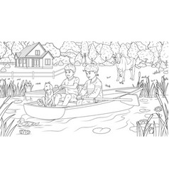 Children ride a boat in a pond vector