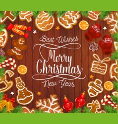 christmas gingerbread cookies on wooden backdrop vector image
