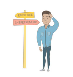 Confused hispanic man choosing career pathway vector