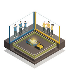 Controlled robots isometric design concept vector