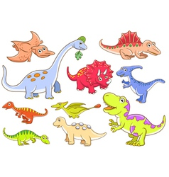 Cute dinosaurs set vector