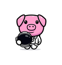Cute pig wearing astronaut suit mascot character vector