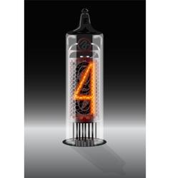 Digit 4 on vintage vacuum tube display vector