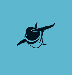 Dolphin swim avay logo sign vector
