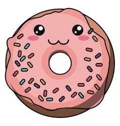 Donut with kawaii face design vector