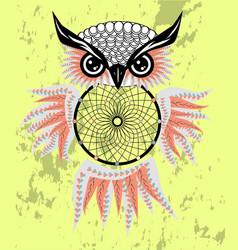 Dreamcatcher with owl zentangle abstract bird vector
