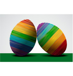easter rainbow eggs vector image
