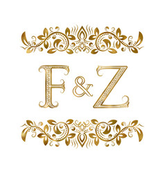 F and z vintage initials logo symbol vector