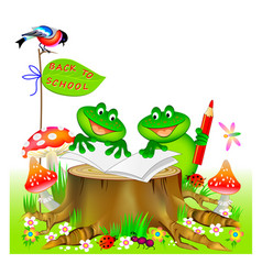 Fantasy cute little frogs learning to read vector