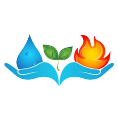 fire and water in hands vector image