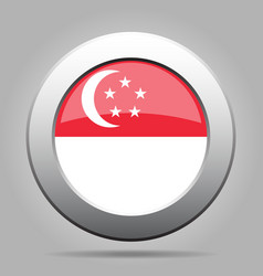 Flag of Singapore Shiny metal gray round button vector