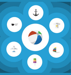 Flat icon season set of aircraft surfing ship vector