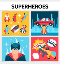 flat superheroes square concept vector image