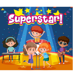 Font design for word superstar with kids on the vector
