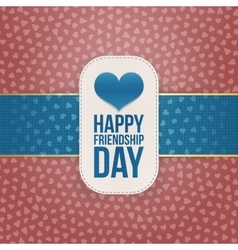 Friendship Day paper Banner with blue Ribbon vector image