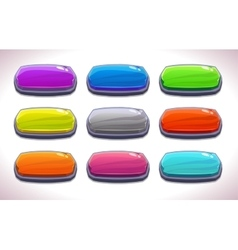 Funny cartoon colorful long horizontal buttons vector