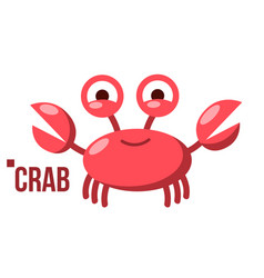 funny crab icon shelf red crab water sea vector image