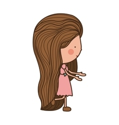 girl walking with brown long hair vector image