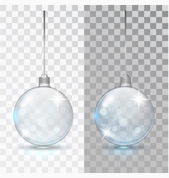 glass transparent christmas ball xmas vector image
