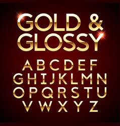 Gold and glossy shining font vector