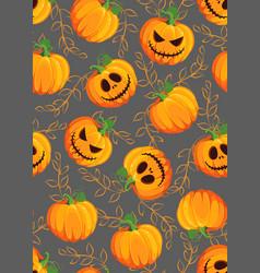 halloween pumpkin seamless pattern on gray vector image