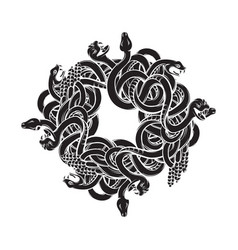 Hand drawn with bunch angry snakes artwork vector