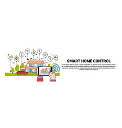 hand hold digital tablet with smart home control vector image