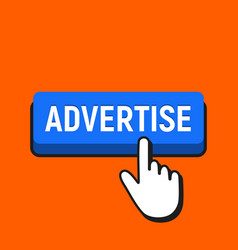 Hand mouse cursor clicks the advertise button vector