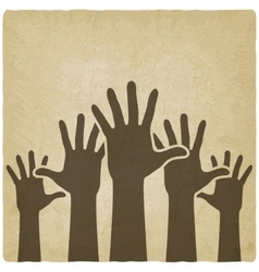 hands up symbol old background vector image