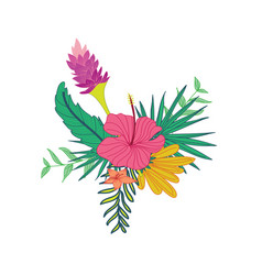 Hibiscus lavender hand drawn tropical flower vector