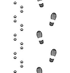 human feet and dog paws vector image