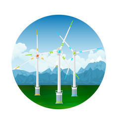 Icon wind turbines on the ground vector