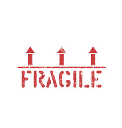 isolated fragile grunge red box sign with vector image