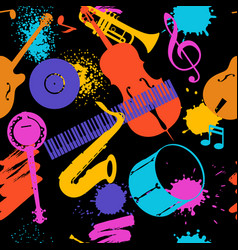 jazz music seamless pattern with musical vector image