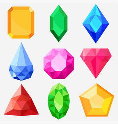 Jewels set gems and diamonds vector