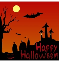 Landscape and blooded inscription Happy Halloween vector image