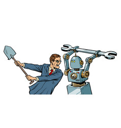 man fights with a robot vector image