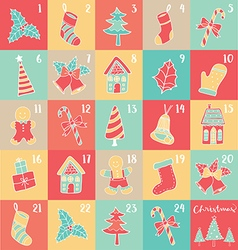 merry christmas 24 windows colorful vector image