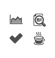 Money diagram check article and tick icons vector