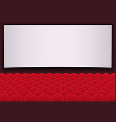 Movie theatre with rows of red seats and blank vector